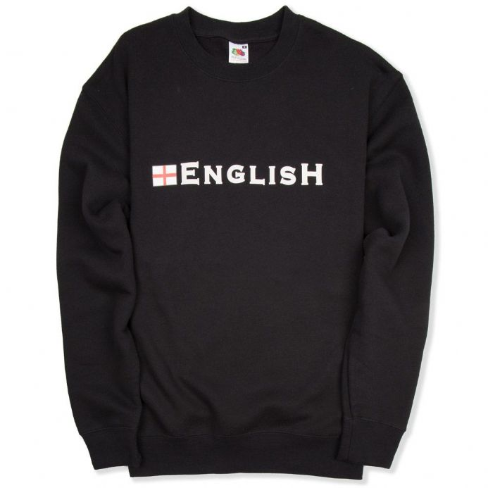 "England Sweatshirt with ""English"" logo and St George Cross - Black"